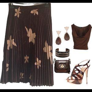 Vintage🧚♀️Stunning floral pleated mesh skirt
